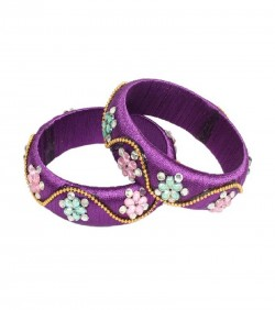 Purple Thread Bangles for Women - 2Pcs