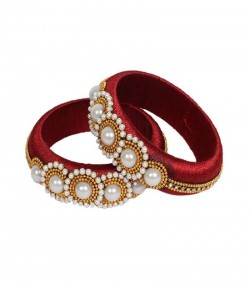 Maroon Thread Bangles for Women - 2Pcs