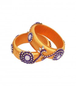 Orange Thread Bangles for Women - 2Pcs