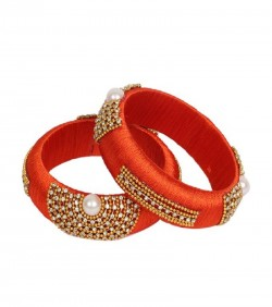 Chili Red Thread Bangles for Women - 2Pcs