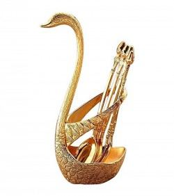Spoon Set With Swan Stand - Golden