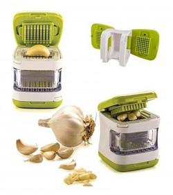 Garlic Cube Easy Garlic Press Chopper - White and Green