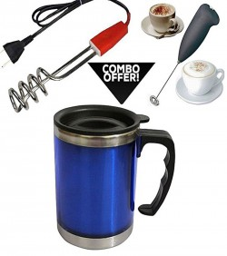 Stainless Steel Coffee Mug with hand Mixer and coffee water heater combo offer -Multi color