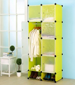 Portable Plastic storage wardrobe 8 box