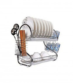 S Shape 2-Layer Dish Drainer - Silver