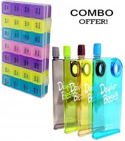 Notebook Water Bottle 380ml and 7 Days Mini Pill Box Medicine Container