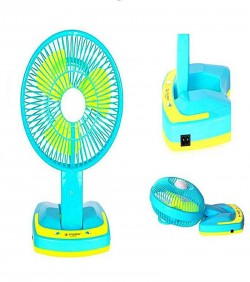 Rechargeable Folding Fan With Light - Turquoise and Yellow