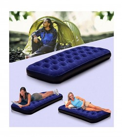 Single Air Bed Camping Mattress - Blue with pumper