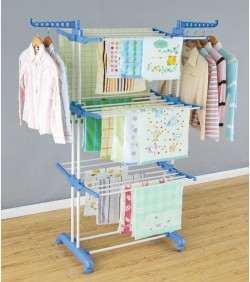 Three Layer Cloth Rack - Blue and Silver