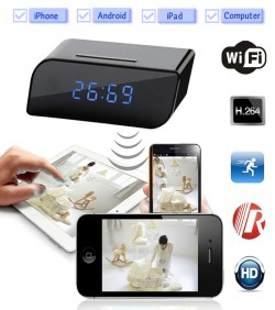 WIFI/ IP HD Table Clock Camera - Black