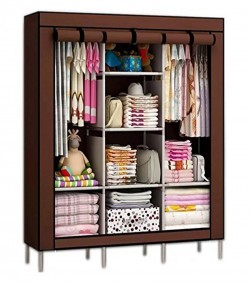 HCX Wardrobe Storage Organizer for Clothes - Big Size 3 part - brown