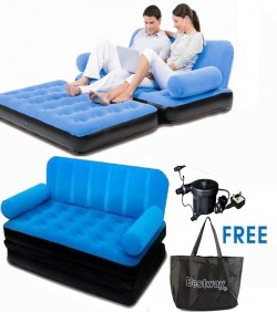 Inflatable Double Air Bed Cum Sofa - Deep Sky Blue