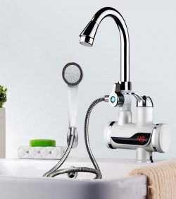 Hot Water Tap With Shower Head - White