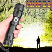 Rechargeable LED Flashlight USB Torch Light Most Powerful Waterproof Zoom Hand Lamp
