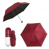 7 inch Folding Umbrella with Cute Capsule Case-maroon