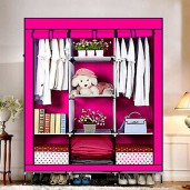HCX Wardrobe Storage Organizer for Clothes - Big Size 3 part -pink