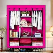 HCX Wardrobe Storage Organizer for Clothes - Big Size 3 part -pink