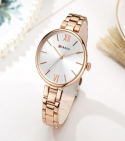 CURREN Simple Dial Watch for Women- rose gold