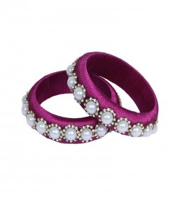 Magenta Thread Bangles for Women - 2Pcs