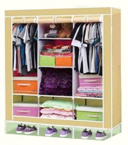 HCX Wardrobe Storage Organizer for Clothes - Big Size 3 part - beige