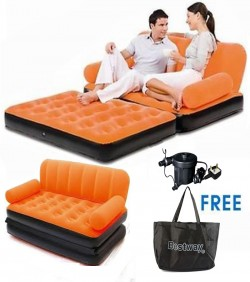 Original Bestway Brand Air Inflatable 5 In 1 Sofa Cum Bed -Orange