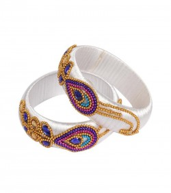 White Thread Bangles for Women - 2Pcs