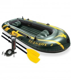 Seahawk 3-Person Inflatable Boat Set - Green