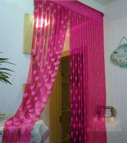 Handloomhub Net Curtains, 2PCS deep pink