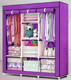 HCX Wardrobe Storage Organizer for Clothes - Big Size 3 part - purple