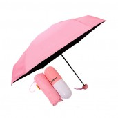 Folding Umbrella with Cute Capsule Case-pink