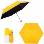 Folding Umbrella with Cute Capsule Case - Yellow