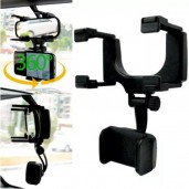 360 Degree Rearview Mirror Car Phone Holder