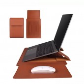 Leather Sleeve Case Laptop Bag With Stand and mouse pad