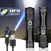 Rechargeable Waterproof Zoom LED Flashlight USB Torch Light