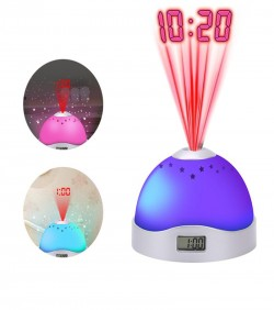 Colorful Projection Clock Star Sky Night Light